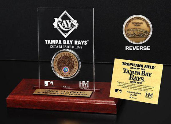 Tampa Bay Rays Tropicana Field Infield Dirt Coin Etched Acrylic  (HM)