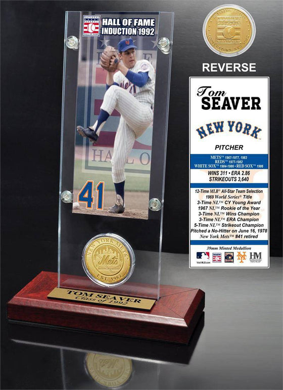"New York Mets Tom Seaver ""Hall of Fame"" Ticket & Bronze Coin Acrylic Desk Top (HM) - 757 Sports Collectibles"
