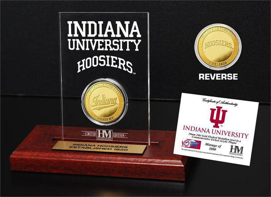 Indiana Hoosiers Indiana University   Gold Coin Etched Acrylic (HM)
