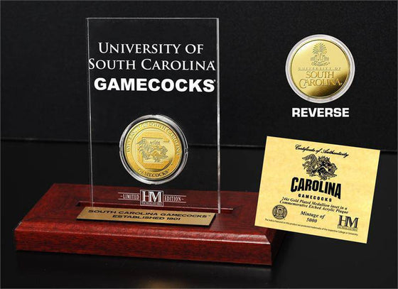 University of South Carolina Gamecocks 24KT Gold Coin Etched Acrylic (HM)