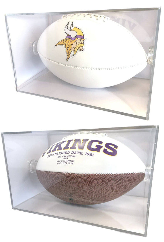 Minnesota Vikings Full Size Signature Series Football in UV Protective Acrylic Display Case