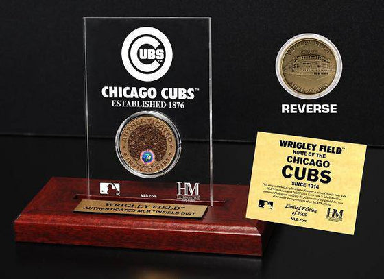 Chicago Cubs Wrigley Field Infield Dirt Coin Etched Acrylic  (HM)