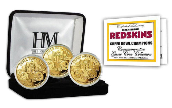 Washington Redskins 3-time Super Bowl Champions Gold Game Coin Set (HM) - 757 Sports Collectibles