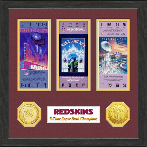 NFL Washington Redskins 3-Time Super Bowl Champions Framed Tickets w/ Collectible Coins