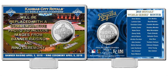 Kansas City Royals 2015 World Series Champions Banner and Ring Ceremony Silver Coin Card (HM)
