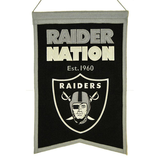 "Oakland Raiders Franchise Banner 14""x22"" Wool Embroidered"