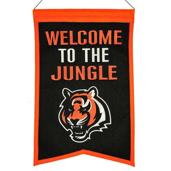 "Cincinnati Bengals Franchise Banner 14""x22"" Wool Embroidered"