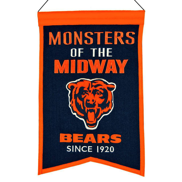 "Chicago Bears Franchise Banner 14""x22"" Wool Embroidered"