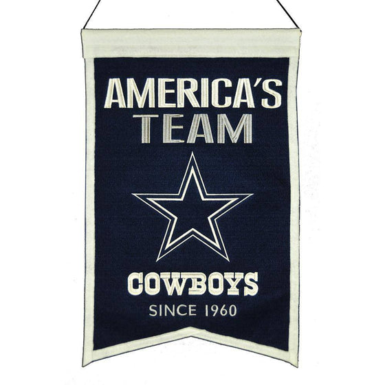 "Dallas Cowboys Franchise Banner 14""x22"" Wool Embroidered"