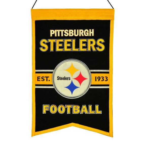 "Pittsburgh Steelers Franchise Banner 14""x22"" Wool Embroidered - 757 Sports Collectibles"