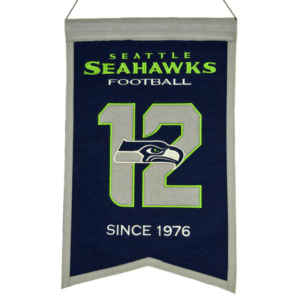 "Seattle Seahawks Franchise Banner 14""x22"" Wool Embroidered"