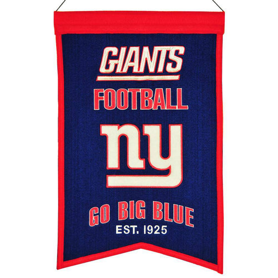 "New York Giants Franchise Banner 14""x22"" Wool Embroidered"