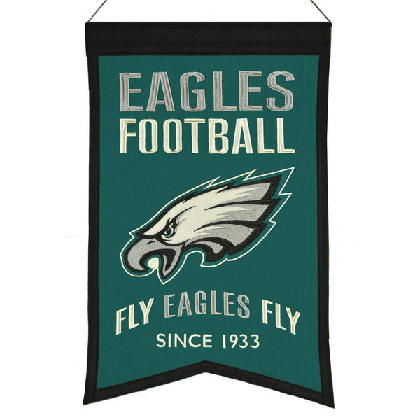 "Philadelphia Eagles Franchise Banner 14""x22"" Wool Embroidered"