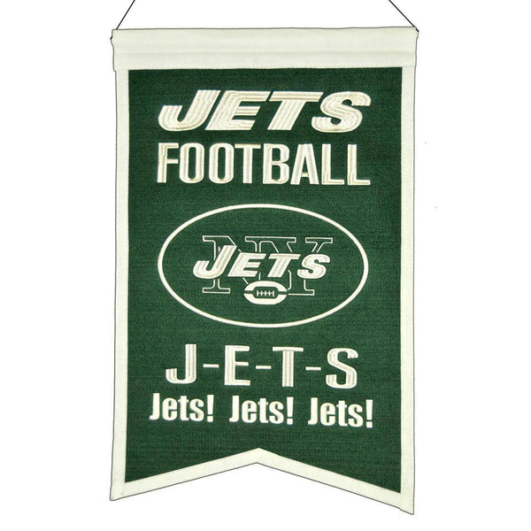 "New York Jets Franchise Banner 14""x22"" Wool Embroidered"