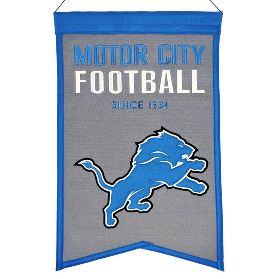"Detroit Lions Franchise Banner 14""x22"" Wool Embroidered"