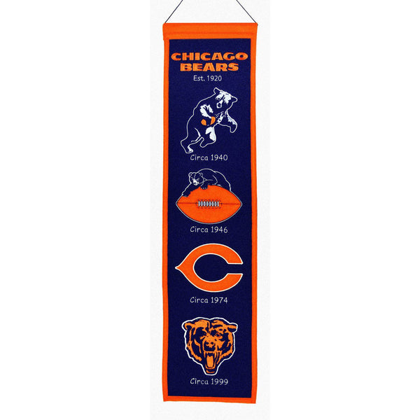 "Chicago Bears Heritage Banner 8""x32"" Wool Embroidered"
