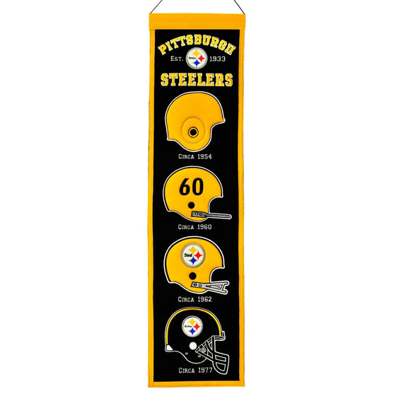 "Pittsburgh Steelers Heritage Banner 8""x32"" Wool Embroidered"