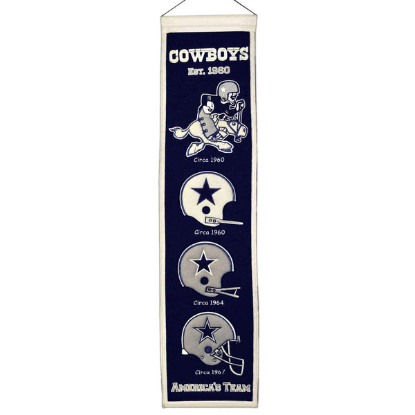 "Dallas Cowboys Heritage Banner 8""x32"" Wool Embroidered"