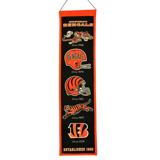 "Cincinnati Bengals Heritage Banner 8""x32"" Wool Embroidered - 757 Sports Collectibles"