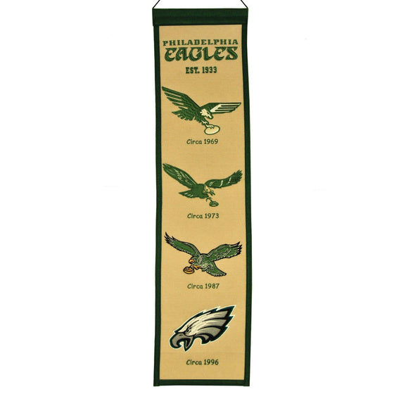"Philadelphia Eagles Heritage Banner 8""x32"" Wool Embroidered"