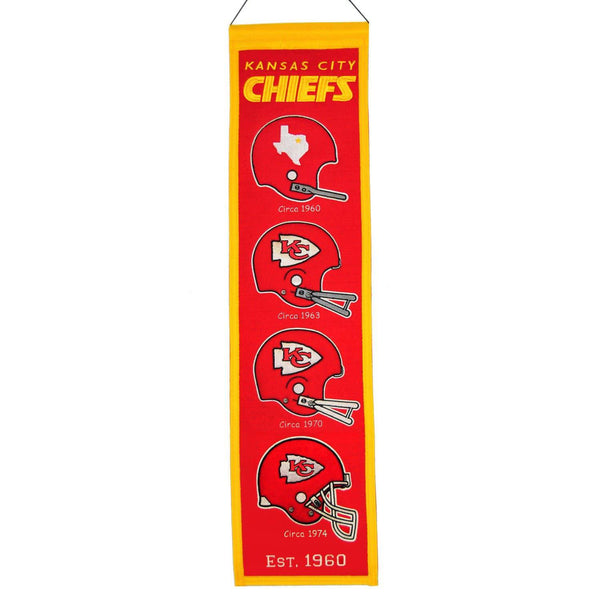 "Kansas City Chiefs Heritage Banner 8""x32"" Wool Embroidered"