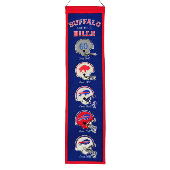 "Buffalo Bills Heritage Banner 8""x32"" Wool Embroidered"