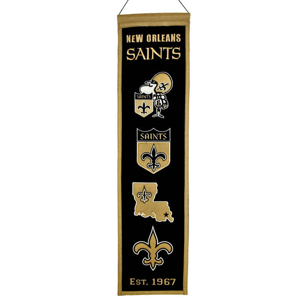 "New Orleans Saints Heritage Banner 8""x32"" Wool Embroidered"