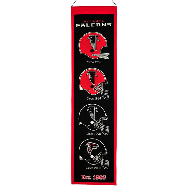 "Atlanta Falcons Heritage Banner 8""x32"" Wool Embroidered"