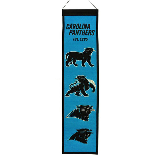 "Carolina Panthers Heritage Banner 8""x32"" Wool Embroidered"