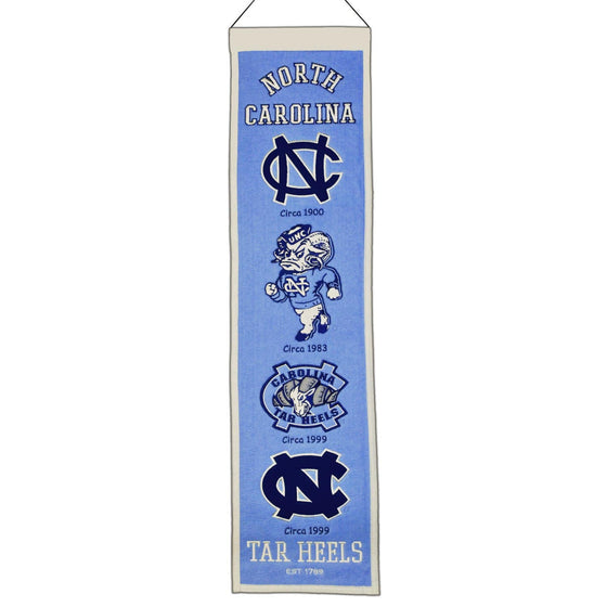 "North Carolina Tar Heels Heritage Banner 8""x32"" Wool Embroidered"