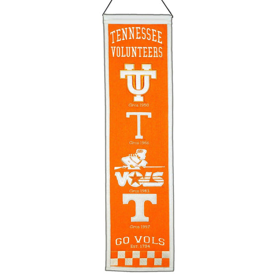 "Tennessee Volunteers Heritage Banner 8""x32"" Wool Embroidered"