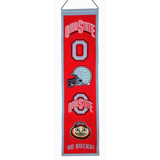 "Ohio State Buckeyes Heritage Banner 8""x32"" Wool Embroidered"