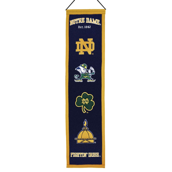"Notre Dame Fighting Irish Heritage Banner 8""x32"" Wool Embroidered"