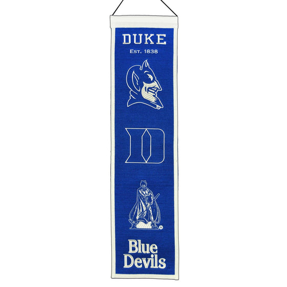 "Duke Blue Devils Heritage Banner 8""x32"" Wool Embroidered"