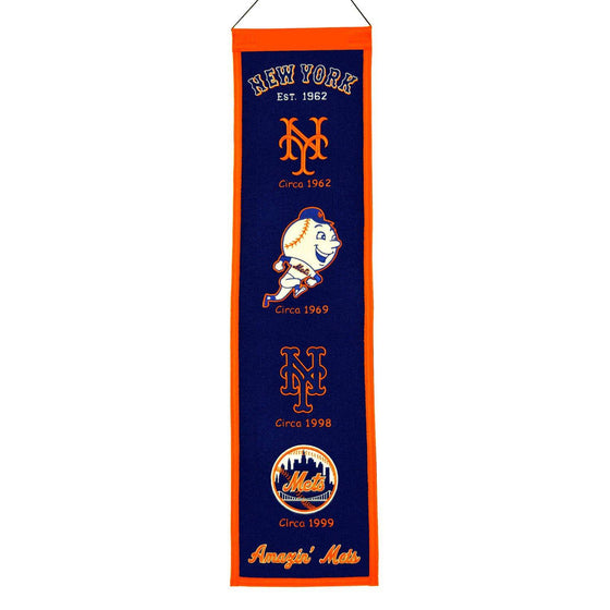 "New York Mets Heritage Banner 8""x32"" Wool Embroidered"
