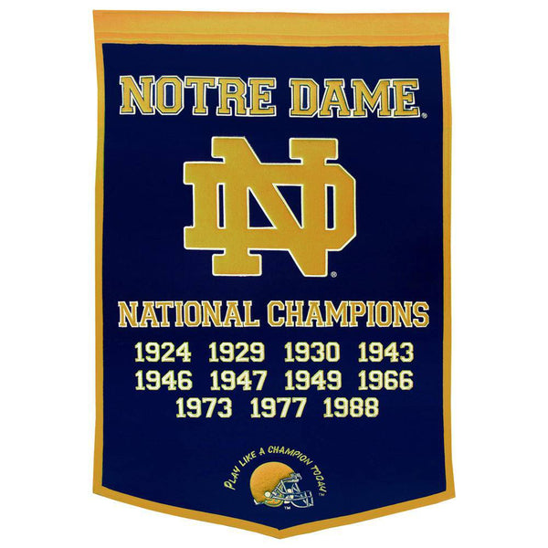 "Notre Dame Fighting Irish Dynasty Banner 24""x36"" Wool Embroidered"