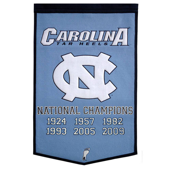 "North Carolina Tar Heels Basketball Dynasty Banner 24""x36"" Wool Embroidered"