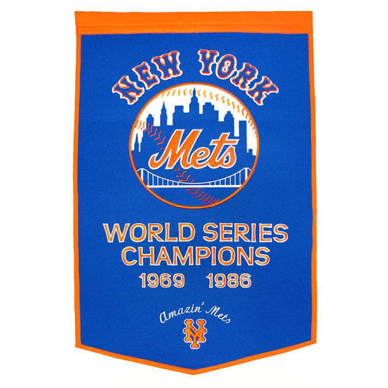 "New York Mets Dynasty Banner 24""x36"" Wool Embroidered"