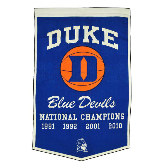 "Duke Blue Devils Basketball Dynasty Banner 24""x36"" Wool Embroidered - 757 Sports Collectibles"