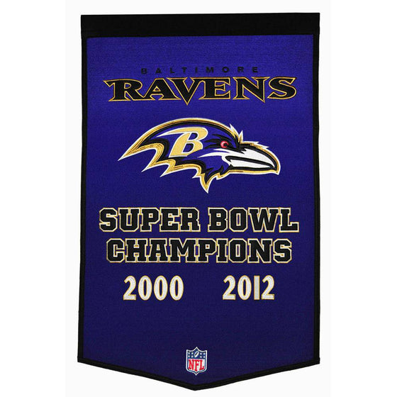 "Baltimore Ravens Super Bowl Dynasty Banner 24""x36"" Wool Embroidered"