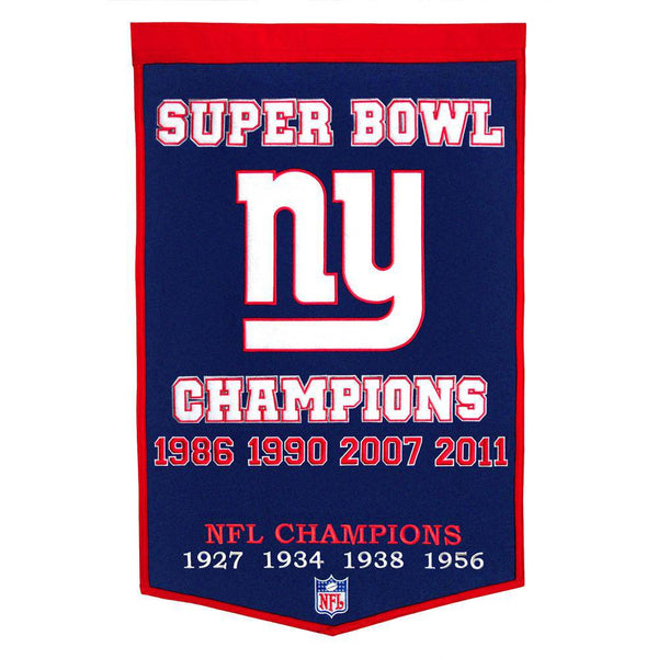 "New York Giants Super Bowl Dynasty Banner 24""x36"" Wool Embroidered"