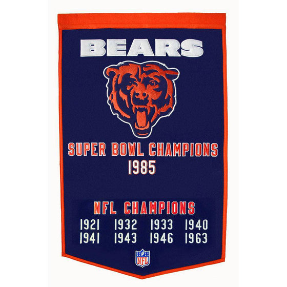 "Chicago Bears Super Bowl Dynasty Banner 24""x36"" Wool Embroidered"