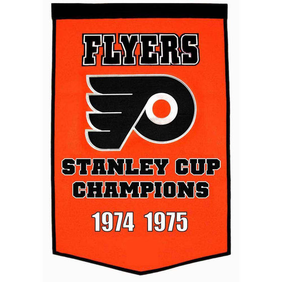 "Philadelphia Flyers Dynasty Banner 24""x36"" Wool Embroidered - 757 Sports Collectibles"