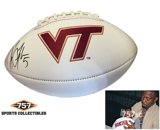 NCAA Tyrod Taylor Virginia Tech Hokies Signed Auto Logo Football ( JSA PSA Pass) 757