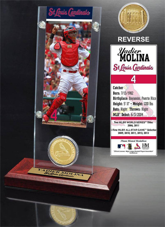 St. Louis Cardinals Yadier Molina Ticket & Minted Coin Acrylic Desk Top (HM)