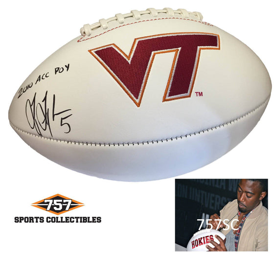"NCAA Tyrod Taylor Virginia Tech Hokies Signed Auto Logo Football Inscribed ""2010 ACC POY"" ( JSA PSA Pass) 757 - 757 Sports Collectibles"