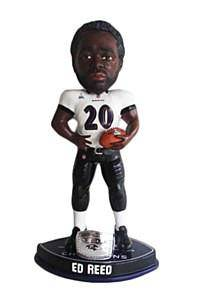 Baltimore Ravens Ed Reed Forever Collectibles Super Bowl 47 Champ Ring Bobble Head