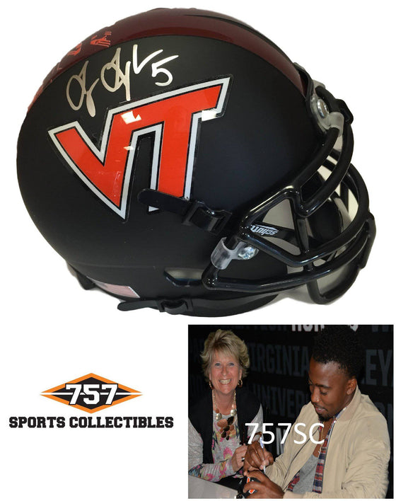 NCAA Tyrod Taylor Virginia Tech Hokies Signed Auto Black Mini Helmet ( JSA PSA Pass) 757
