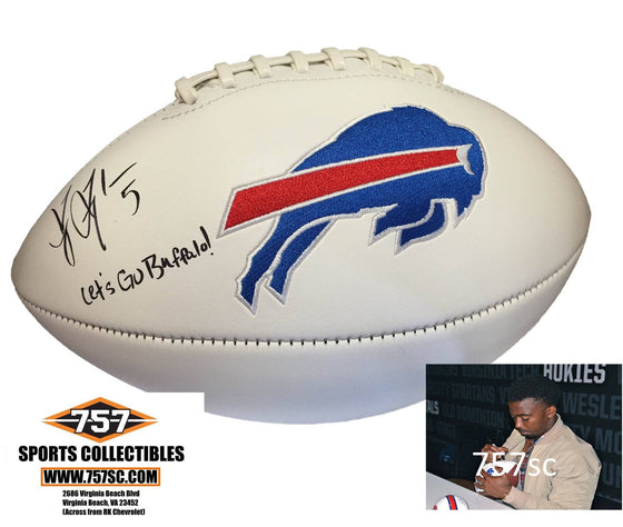 "NFL Tyrod Taylor Buffalo Bills Signed Auto Logo Football Inscribed ""Let's Go Buffalo"" ( JSA PSA Pass) 757"