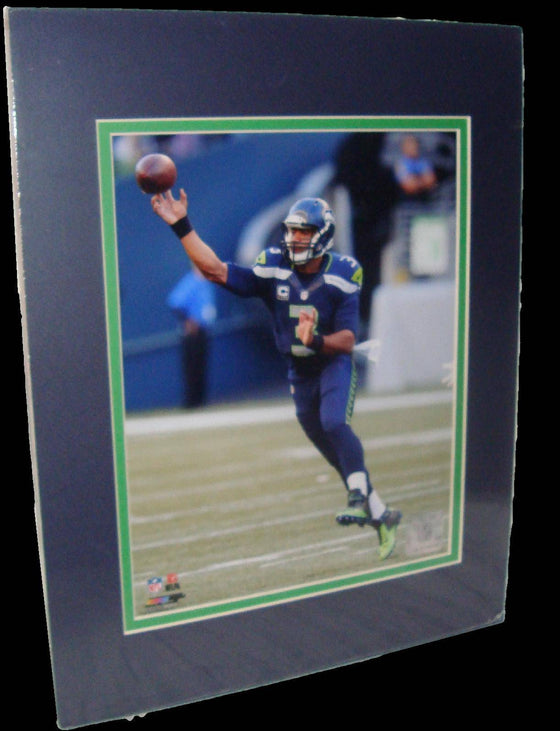 Russell Wilson Seattle Seahawks Blue Matted 8x10 Photo Picture Poster Print
